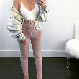Forever 21 extreme high waist dusty rose pants